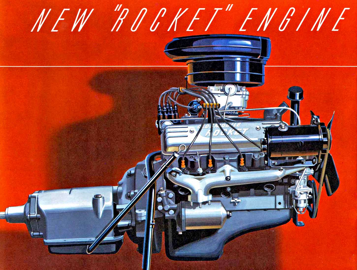 "Colored illustration of the Olds ""Rocket"" V-8 engine from the automakers  1952 brochure."