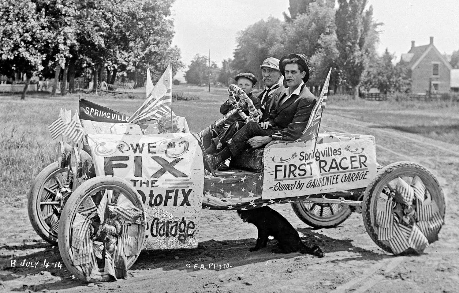 """Happy Fourth of July 104 Years Ago from the """"Gaurentee"""" Garage 