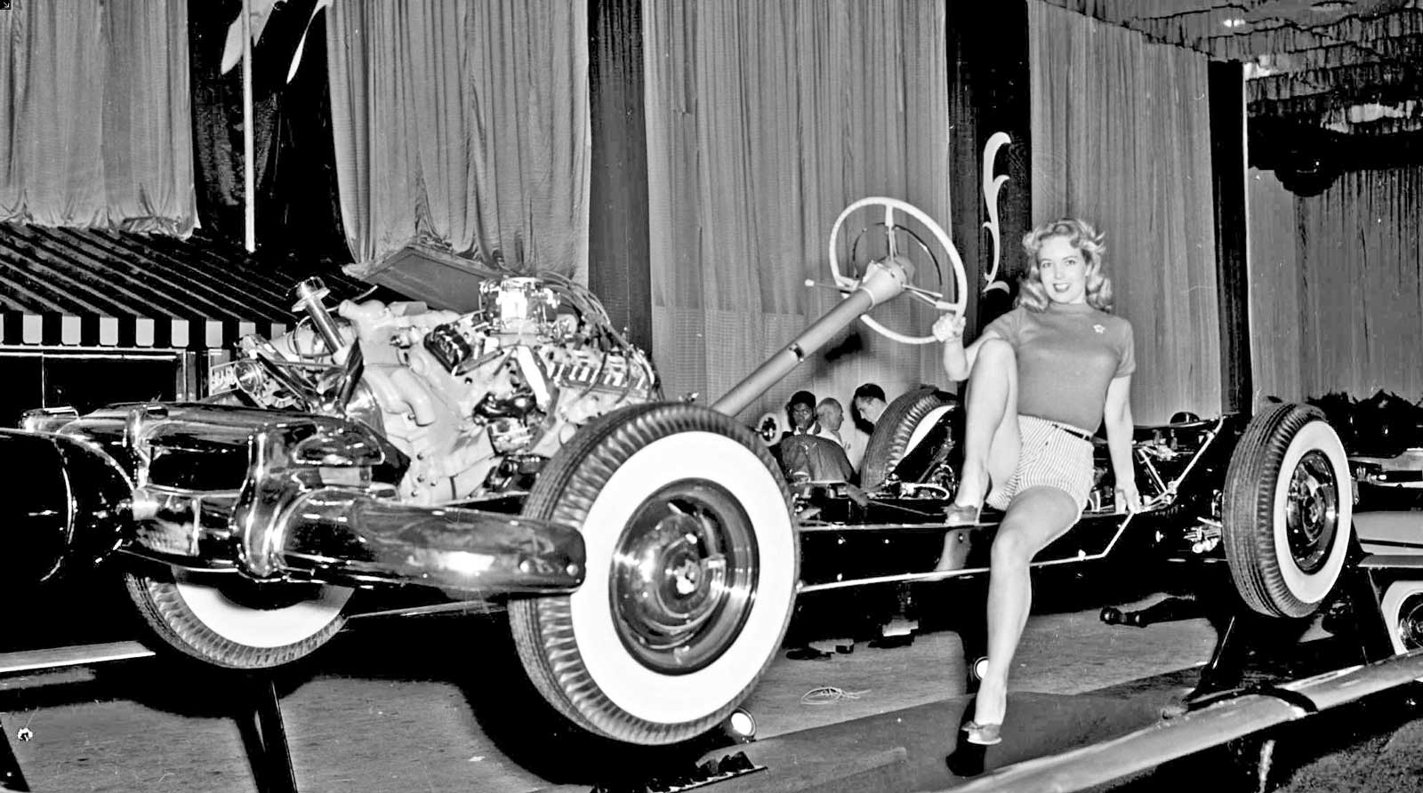 1949 oldsmobile 303 engine diagram wiring library 350 Rocket Engine Horsepower shirley buchanan below posing with the 1949 oldsmobile display chassis at the los angeles automobile show